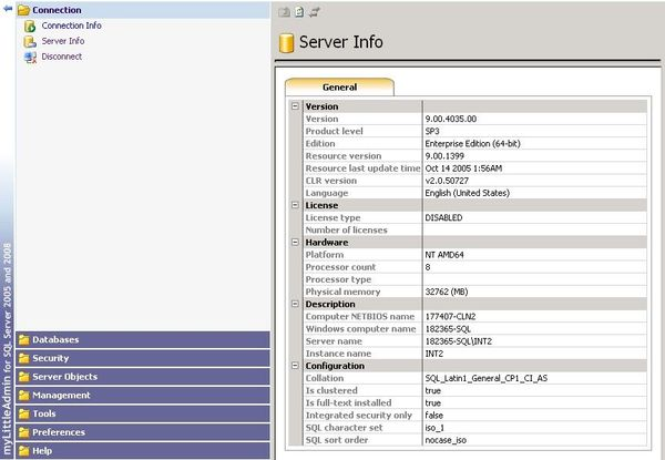 All important info about your (hosted) SQL Server in a single page